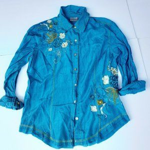 Chicos size 0 Blouse Womens Turquoise Embroidered